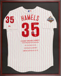 Baseball Collectibles:Uniforms, 2008 Cole Hamels Signed Philadelphia Phillies World Series Jersey Display. ...