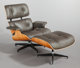 CHARLES EAMES (American, 1907-1978) and RAY KAISER EAMES (1912-1988) Lounge chair and ottoman, 1956 Rosewood veneer, p...