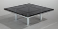 Furniture , TOBIA SCARPA (Italian, b. 1935). Andre Coffee Table (Model 56-332), 1973. Chrome-plated steel, smoked glass. 15-1/2 x 45... (Total: 2 Items)