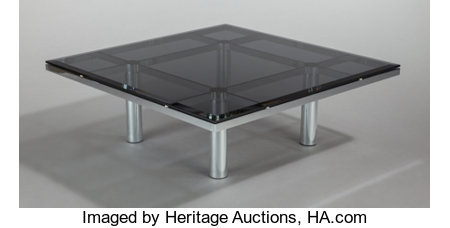 TOBIA SCARPA (Italian, b. 1935)Andre Coffee Table (Model 56-332), 1973Chrome-plated steel, smoked glass15-1/2 x 45... (Total: 2 Items)