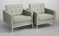 Furniture , FLORENCE KNOLL (American, b. 1917). Set of Four Lounge Chairs, 1954. Upholstery, steel, wood frame, polished chrome fini... (Total: 4 Items)