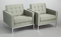FLORENCE KNOLL (American, b. 1917) Set of Four Lounge Chairs, 1954 Upholstery, steel, wood frame, po