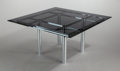 Furniture : American, TOBIA SCARPA (Italian, b. 1935). Andre Table (Model 56-336),1973. Chrome-plated steel, smoked glass. 27 x 54 x 54 inche...(Total: 2 Items)