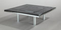 Furniture , TOBIA SCARPA (Italian, b. 1935). Andre Coffee Table (Model 56-332), 1973. Chrome-plated metal, smoked glass. 15-1/2 x 45... (Total: 2 Items)