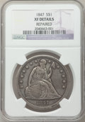 Seated Dollars: , 1847 $1 -- Repaired -- NGC Details. XF. NGC Census: (27/386). PCGSPopulation (62/441). Mintage: 140,750. Numismedia Wsl. P...
