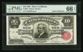 Large Size:Silver Certificates, Fr. 299 $10 1891 Silver Certificate PMG Gem Uncirculated 66 EPQ.....