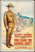 "Movie Posters:War, Who Leads the National Army! (Triangle, 1917). WWI Recruitment FilmOne Sheet (27.5"" X 41""). War.. ..."