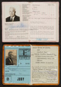 Miscellaneous Collectibles:General, 1960 and 1964 Summer Olympics Identity Cards Lot of 2....