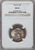 Washington Quarters: , 1932-D 25C MS62 NGC. NGC Census: (366/542). PCGS Population(473/1355). Mintage: 436,800. Numismedia Wsl. Price for problem...