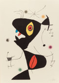 Prints:European Modern, JOAN MIRÓ (Spanish, 1893-1983). Oda a Joan Miró (plate VI),1973. Lithograph printed in colors. 34-3/4 x 25-7/8 inches (...