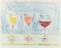Prints:Contemporary, WAYNE THIEBAUD (American, b. 1920). Wine Glasses (fromThe Physiology of Taste series), 1994. Lithograph in colors....