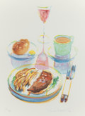 Prints, WAYNE THIEBAUD (American, b. 1920). Trucker's Supper (from The Physiology of Taste series), 1994. Lithograph in colo...