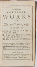 Books:Literature Pre-1900, Charles Cotton. Genuine Poetical Works. London: Bonwicke andWilkin, 1725. Second edition. Twelvemo. Contemporary fu...