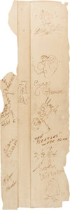 Music Memorabilia:Autographs and Signed Items, Beatles Signed (with Individual Drawings) Stage Wall Section from February 9, 1964, Appearance on the Ed Sullivan Show... (Total: 4 Items)