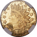 California Fractional Gold, 1878/6 25C Indian Round 25 Cents, BG-883, High R.4, MS66 ★ DeepProoflike NGC....