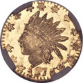 California Fractional Gold, 1876 25C Indian Round 25 Cents, BG-853, Low R.5, MS66 NGC....