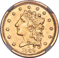 Classic Quarter Eagles, 1839-C $2 1/2 -- Improperly Cleaned -- NGC Details. AU. Breen-6150, Winter-2, Variety-22, R.4....