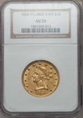 Liberty Eagles, 1854-O $10 Large Date AU55 NGC. Variety 2....