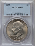 Eisenhower Dollars: , 1977 $1 MS66 PCGS. PCGS Population (813/14). NGC Census: (296/8).Mintage: 12,596,000. Numismedia Wsl. Price for problem fr...