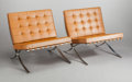 Furniture : Continental, MIES VAN DER ROHE (German, 1886-1969). Pair of Barcelonachairs, 1929. Leather, chrome-plated steel. Each 29-1/2 x 29 x... (Total: 2 Items)
