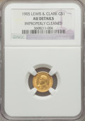 Commemorative Gold: , 1905 G$1 Lewis and Clark -- Improperly Cleaned -- NGC Details. AU.NGC Census: (2/1290). PCGS Population (6/2016). Mintage:...