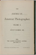 Books:Photography, The American Amateur Photographer, Volume X, Jan.-Dec. 1898. New York: The Outing Company, 1898. Publisher's green cloth...