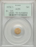 California Fractional Gold: , 1874/3 50C Indian Octagonal 50 Cents, BG-945, High R.4, AU55 PCGS.PCGS Population (5/51). NGC Census: (0/8). ...