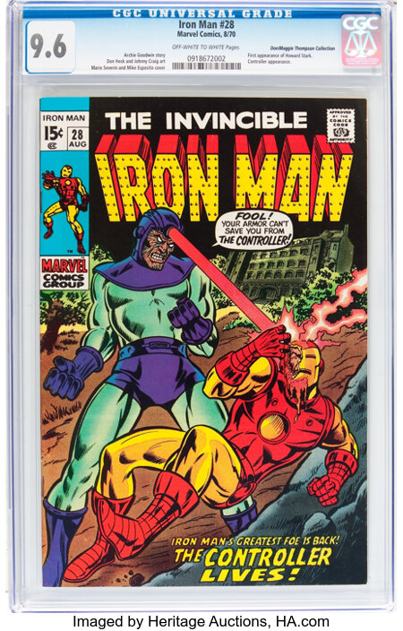 Iron Man #28 Don/Maggie Thompson Collection pedigree (Marvel, 1970) CGC NM+ 9.6 Off-white to white pages....