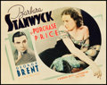 "Movie Posters:Drama, The Purchase Price (Warner Brothers, 1932). Title Lobby Card (11"" X14"").. ..."