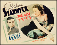 """The Purchase Price (Warner Brothers, 1932). Title Lobby Card (11"""" X 14"""")"""