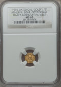 California Gold Charms, 1915 California Gold 1/2, Octagonal, Minerva, Bear MS63 NGC. Hart's Coins of the West....