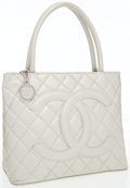 Luxury Accessories:Bags, Chanel Champagne Pearlescent Caviar Leather Medallion Tote bag withHammered Silver Hardware. ...