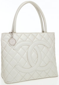 Chanel Champagne Pearlescent Caviar Leather Medallion Tote bag with Hammered Silver Hardware
