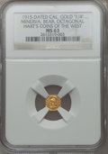 California Gold Charms, 1915 California Gold 1/4, Octagonal, Minerva, Bear MS63 NGC. Hart's Coins of the West....