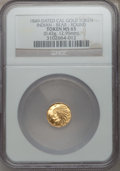 """California Gold Charms, """"1849"""" Round California Gold Token, Indian, Bear MS65 NGC. 0.43 gm. 12.95 mm...."""