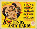 "Movie Posters:Comedy, Love Finds Andy Hardy (MGM, 1938). Title Lobby Card (11"" X 14"")....."