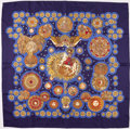 "Luxury Accessories:Accessories, Hermes Blue & Gold ""Le Roy Soleil,"" by Annie Faivre Silk Scarf. ..."