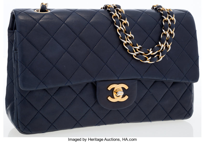 7bb502ac7f56 Chanel Navy Blue Quilted Lambskin Leather Medium Double Flap Bag ...