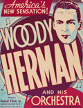 """Movie Posters:Miscellaneous, Woody Herman (Rockwell O'Keefe, 1939). Autographed Trimmed Concert Window Card (13"""" X 17"""").. ..."""
