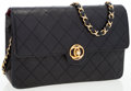 Luxury Accessories:Bags, Chanel Black Quilted Lambskin Leather Flap Bag. ...