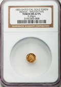 """California Gold Charms, """"1853"""" Octagonal California Gold Token, Indian, Wreath, MS67 Prooflike NGC. 0.20 gm...."""