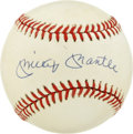 Autographs:Baseballs, Mickey Mantle Single Signed Baseball. The OAL (Brown) baseball is enhanced with the signature of the most beloved New York ...