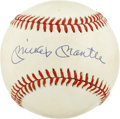 Autographs:Baseballs, Mickey Mantle Single Signed Baseball. The absolute hallmark ofsignatures, the OAL (Brown) orb is blessed by the signature ...