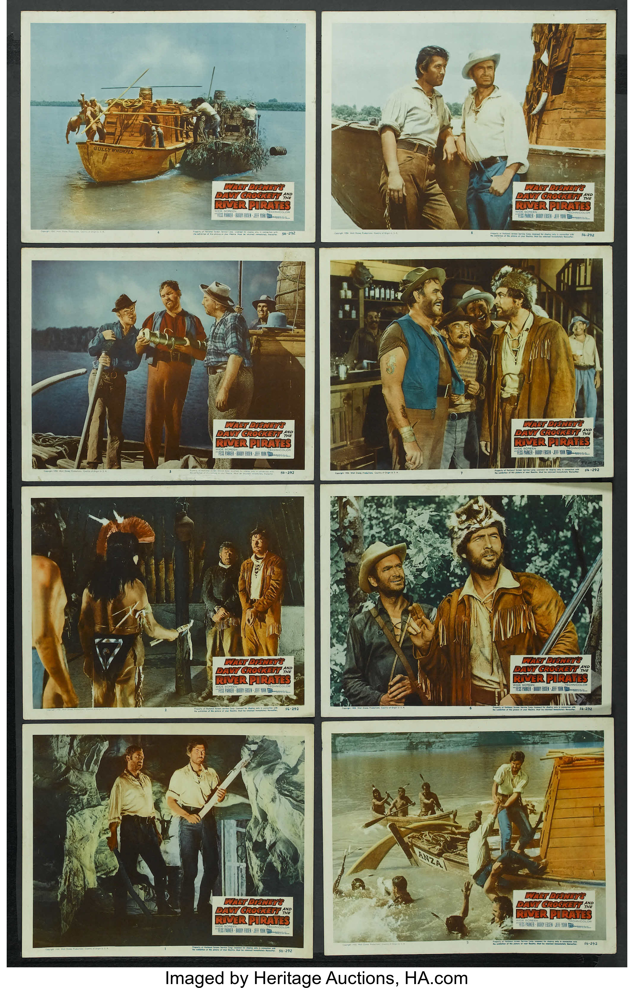 DAVY CROCKETT AND RIVER PIRATES FESS PARKER LOBBY CARD