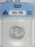 Coins of Hawaii: , 1883 25C Hawaii Quarter AU58 ANACS. NGC Census: (50/531). PCGSPopulation (85/907). Mintage: 500,000. (#10987)...