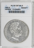 Coins of Hawaii: , 1883 $1 Hawaii Dollar--Cleaned--ANACS. AU55 Details. NGC Census: (36/88). PCGS Population (37/109). Mintage: 500,000. (#10...