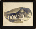 Photography:Cabinet Photos, UNIDENTIFIED MEN ON THE PORCH OF A HOUSE WITH FAMILY - IMPERIAL CARD - ca. 1890-1900.. This is a nice image of two armed men... (Total: 1 Item)