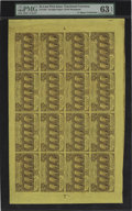 Fractional Currency:First Issue, Fr. 1281 25¢ First Issue Complete Sheet of Sixteen PMG ChoiceUncirculated 63 EPQ....