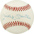 Autographs:Baseballs, Mickey Mantle Single Signed Baseball. The OAL (Brown) baseball hasbeen enhanced with the bold and clear signature of the m...