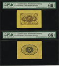 Fractional Currency:First Issue, Fr. 1231SP 5¢ First Issue Wide Margin Pair PMG Gem Uncirculated 66EPQ....